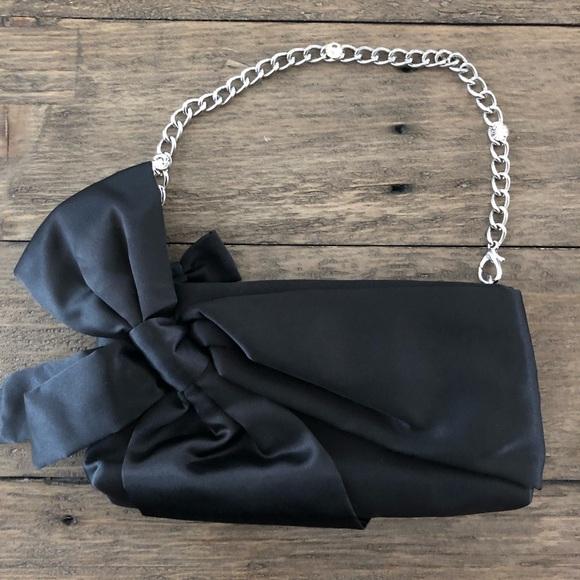 WHBM Black Satin Bow Silver Chain Wristlet Bag